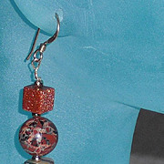 Goldstone Drop Pierced Earrings with Enhanced Goldstone Beads.