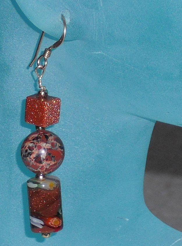 Handmade Goldstone Drop Pierced Earrings with Enhanced Goldstone Beads.