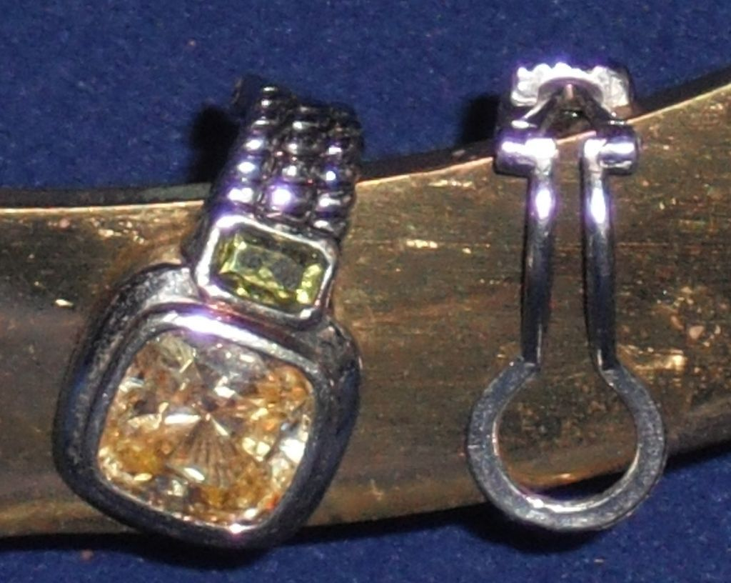 Vintage Sterling Silver with Lemon & Peridot Quartz Clip Earrings