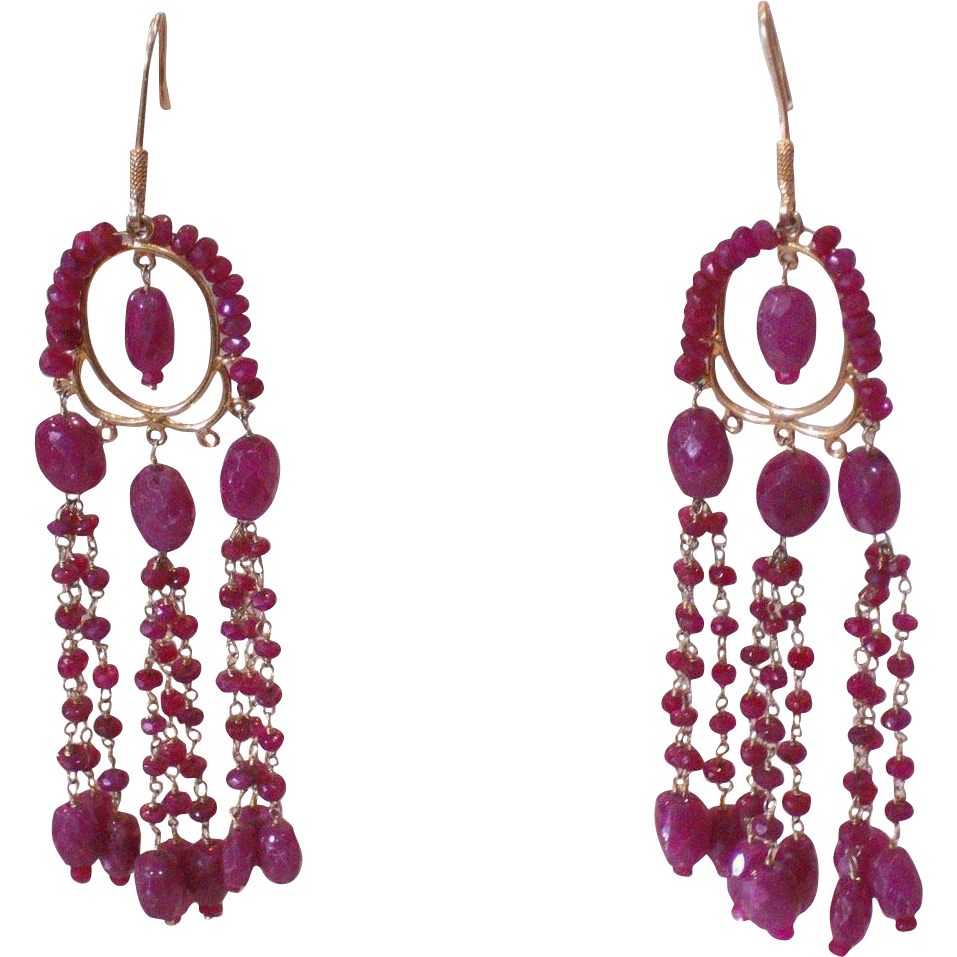Vintage Art Deco 18Kt Yellow Gold Ruby Chandelier Vintage Dangle Earrings