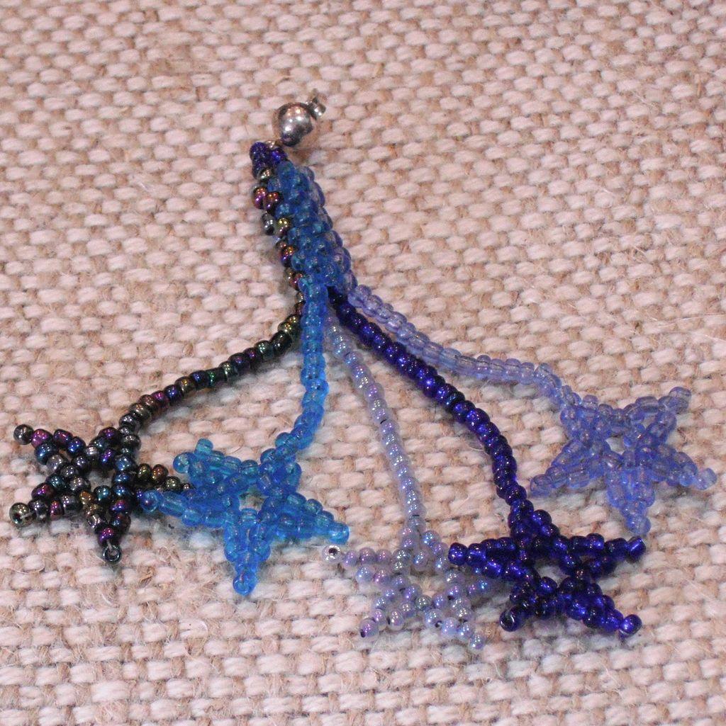 Artisan made Blue Multi - colored Seed Bead Star Earrings