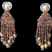 Artisan made Brown Multi-colored Seed Bead Earrings
