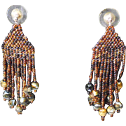 Handmade Brown Multi colored Seed Bead Earrings