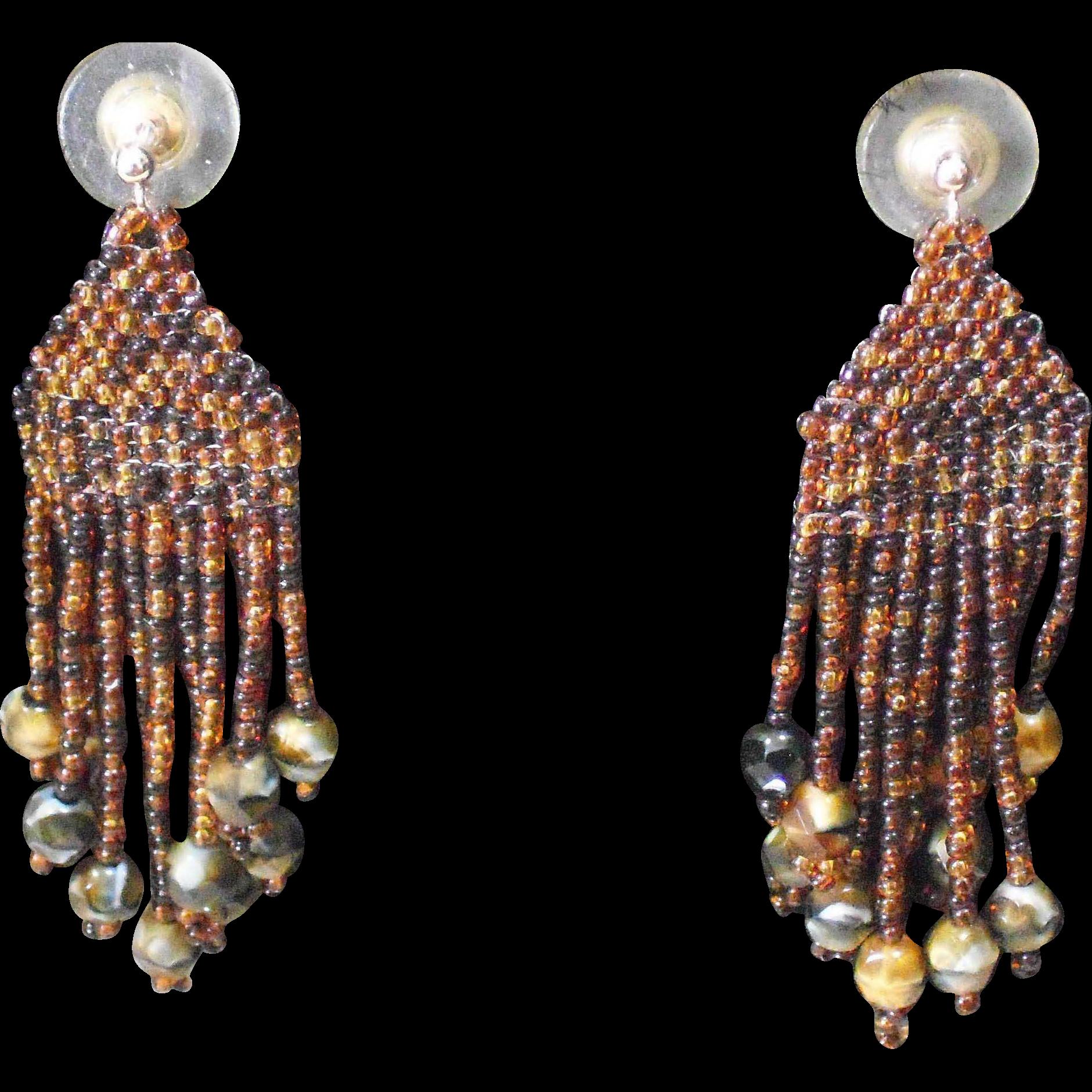 Handmade Brown Multi colored Seed Bead Earrings