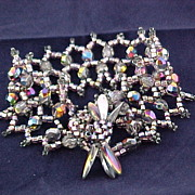 Lavender Aurora Czech glass Bracelet with seed beads and daggers.