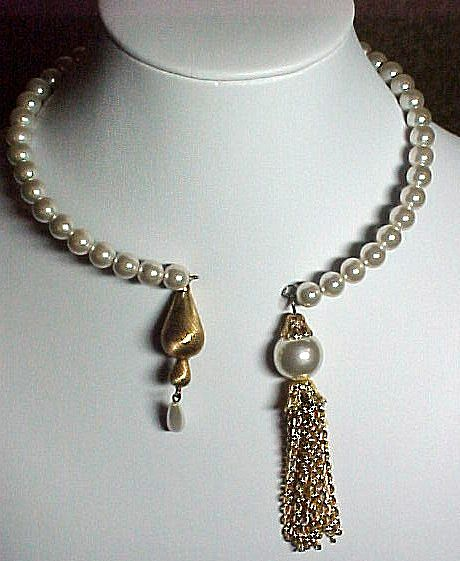 Faux Pearl Memory Wire Necklace Sold Ruby Lane
