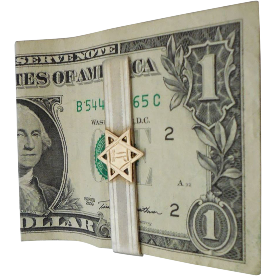 Vintage Sterling Silver Money Clip with 10K Gold Jewish Star by Hickok