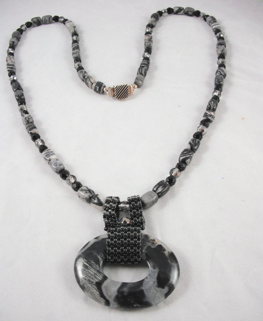 Picasso Jasper (Grey/Black Stone) Necklace