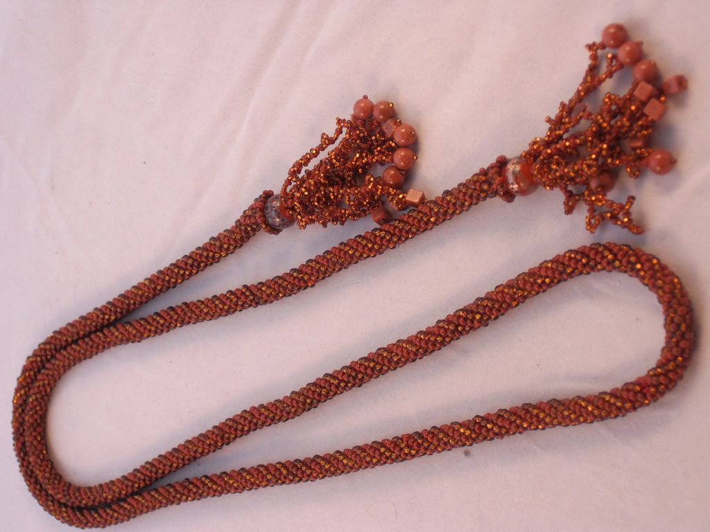 Rust and Bronze Seed Bead Crocheted Lariat - 43""