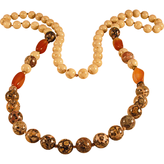 Vintage Mixed Bead Stone Necklace