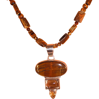 Handmade Tigers Eye Necklace with Sterling Pendant