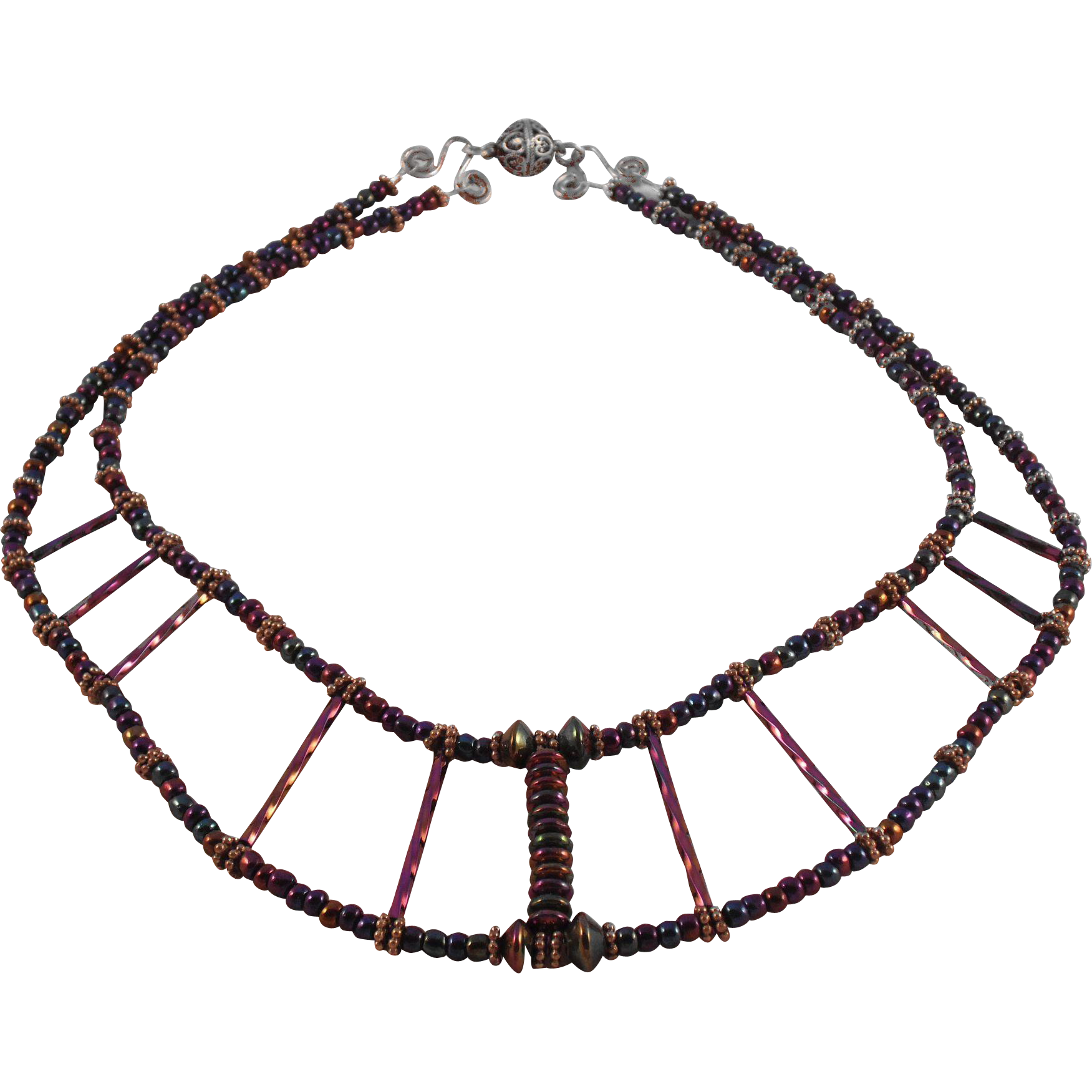 Handmade Egyptian Look Iris Beads and Sterling Silver Necklace