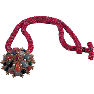 Handmade Red Tweed Seed Bead Necklace with Pendant
