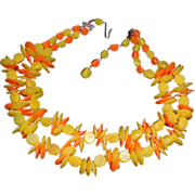 "Yellow and Orange West German Beaded Necklace -14"" +"