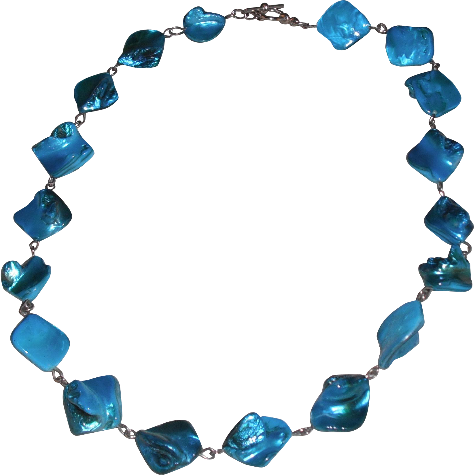 Handmade Teal Dyed Mother of Pearl Nugget Necklace