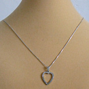 """Vintage Sterling Silver Marcasite Heart Pendant with Sterling Chain - 19"""""""