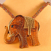 Rust Iridescent Tweed Seed Bead Necklace with Faux Tortoise/Amber Elephant