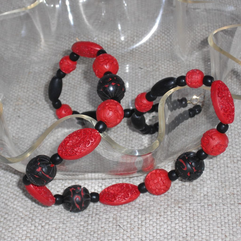 Vintage Red and Black Cinnabar Necklace