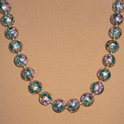 Gold Colored Cloisonne Bead Necklace – 27""