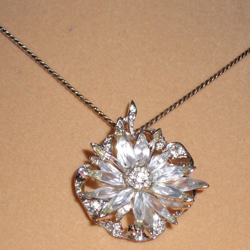 Swarovski Signed Austrian Crystal Rhinestone Flower Pendant Necklace