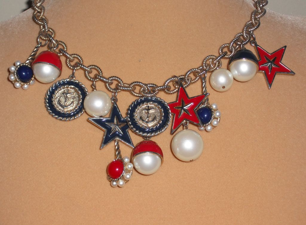 Vintage Red White and Blue Nautical Necklace -18.5 inches
