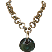 """Heavy Brass Necklace with LARGE Lifesaver Shaped Glass Piece 19-21.5"""""""