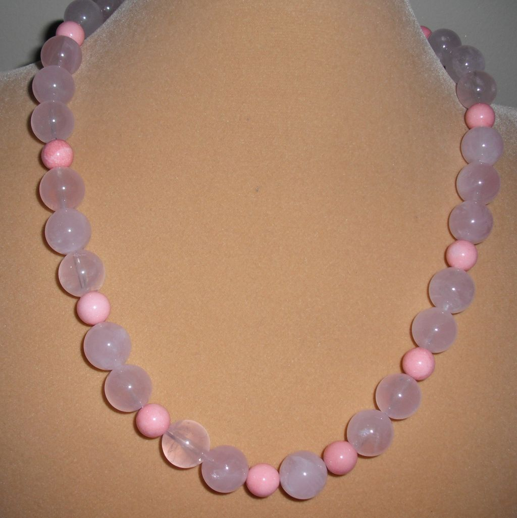 Handmade Rose Quartz  / Pink Coral Necklace with  Magnetic Clasp 21.5 inches