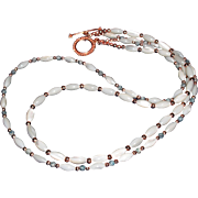 Handmade Mother of Pearl, Copper, Sodalite  2 Strand Necklace