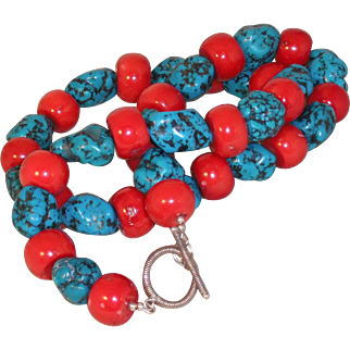 Handmade Large Fossilized Red Bamboo Coral / Turquoise Nugget Necklace with Sterling Silver Clasp