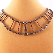 Egyptian Look Iris Beads and Sterling Silver Necklace