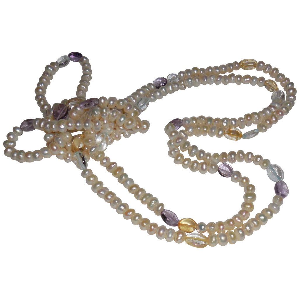 Vintage Freshwater Pearl Necklace with Semi Precious Beads
