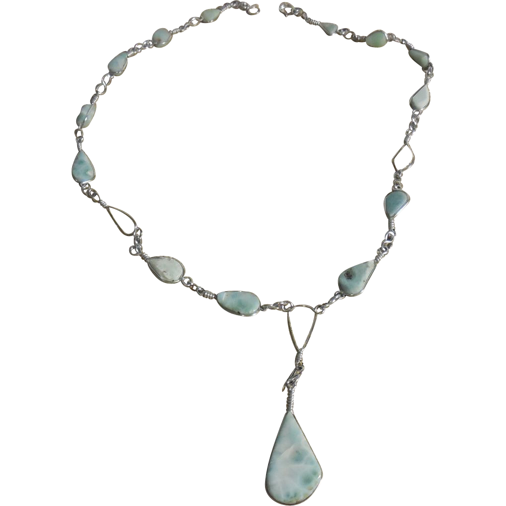 Sterling Silver Larimar Necklace – 16""