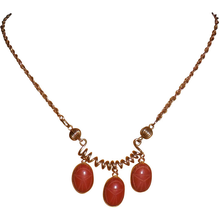 Red Jasper Scarab Drops on Gold Filled Necklace – 14.5""