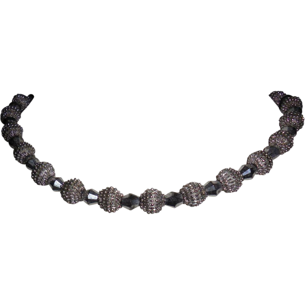 Trifari Silver Plated Porcupine Beads with Dark Silver Bicone Beads Necklace -