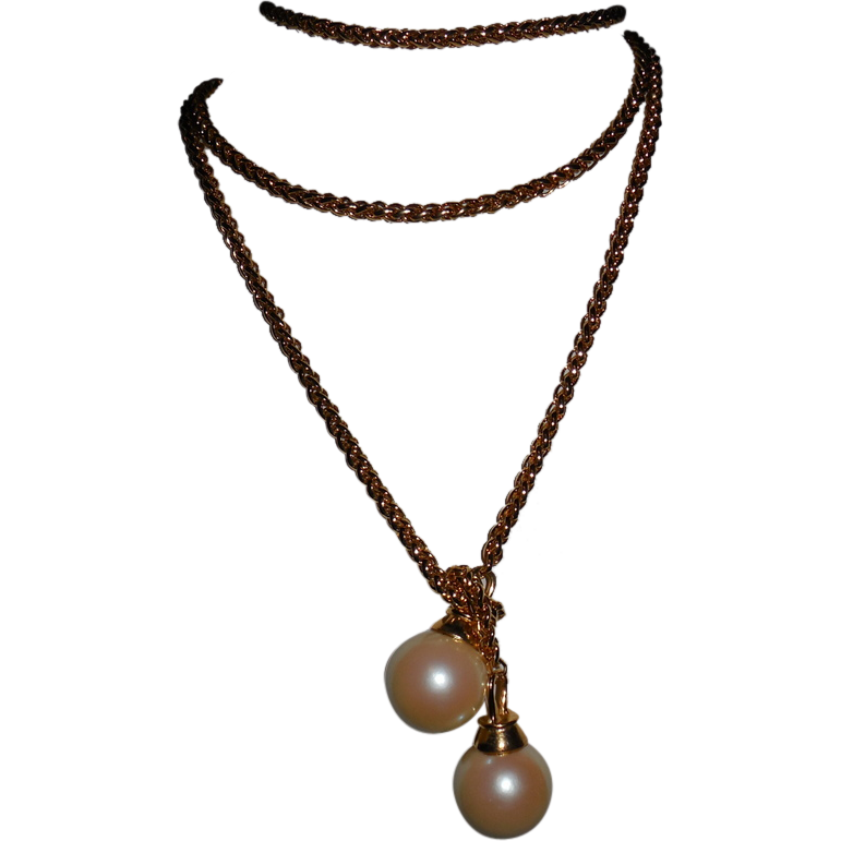 Vintage Gold Plated Chain 48 inch Lariat with Faux Pearl Tips