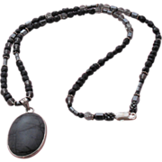 Picasso Jasper (Grey/Black Stone) Pendant on Coordinating Necklace