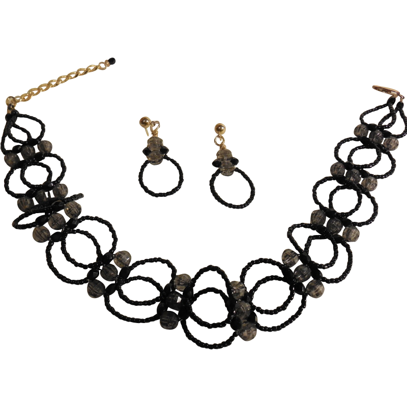 """Black Seed Beaded Choker with Matching Earrings– 13.5"""" + 2.5"""""""