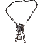 Vintage Sterling Open Back Crystal Prong Set Necklace