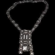 Vintage Sterling Open Back Crystal Prong Set Necklace