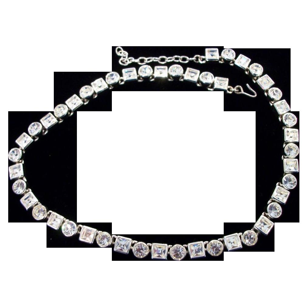 """Monet Bezel Set Multi Shaped Rhinestone Necklace-17.375"""""""