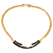 """S.A.L. Swarovski Gold Plated Chain Necklace with Black Enamel Center – 16"""""""