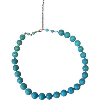Vintage Turquoise Dyed Magnesite Necklace