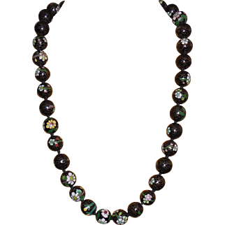 Chinese Cloisonné Enamel Bead Vintage Necklace – 26 inches