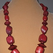 Handmade Redwood colored Wooden Bead Necklace