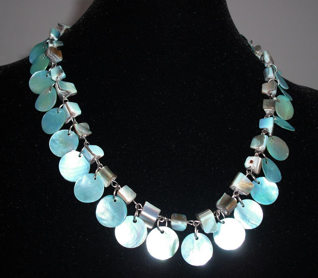 Pale Aqua Shell Necklace with Drops
