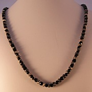 Picasso Jasper (Grey/Black Stone) Necklace with Black Beads