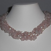 Vintage 1980's Rose Quartz and Freshwater Pearl Twisted Torsade Necklace