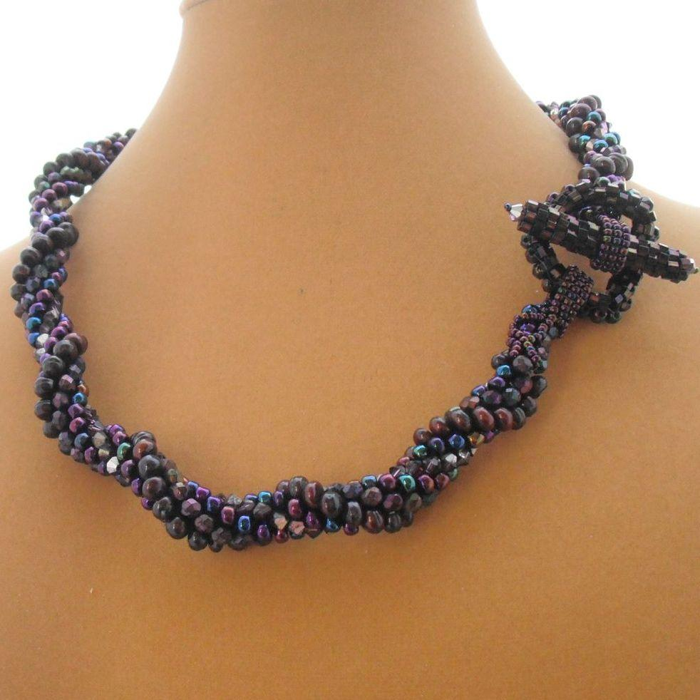 Artisan made Vintage Czech Glass, Swarovski Crystal, Dyed Freshwater Pearls and Large Glass Seed Beads with Self Clasp