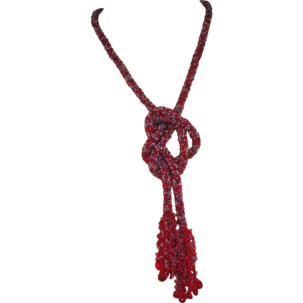 Red Tweed Seed Bead Necklace / Lariat - 48""