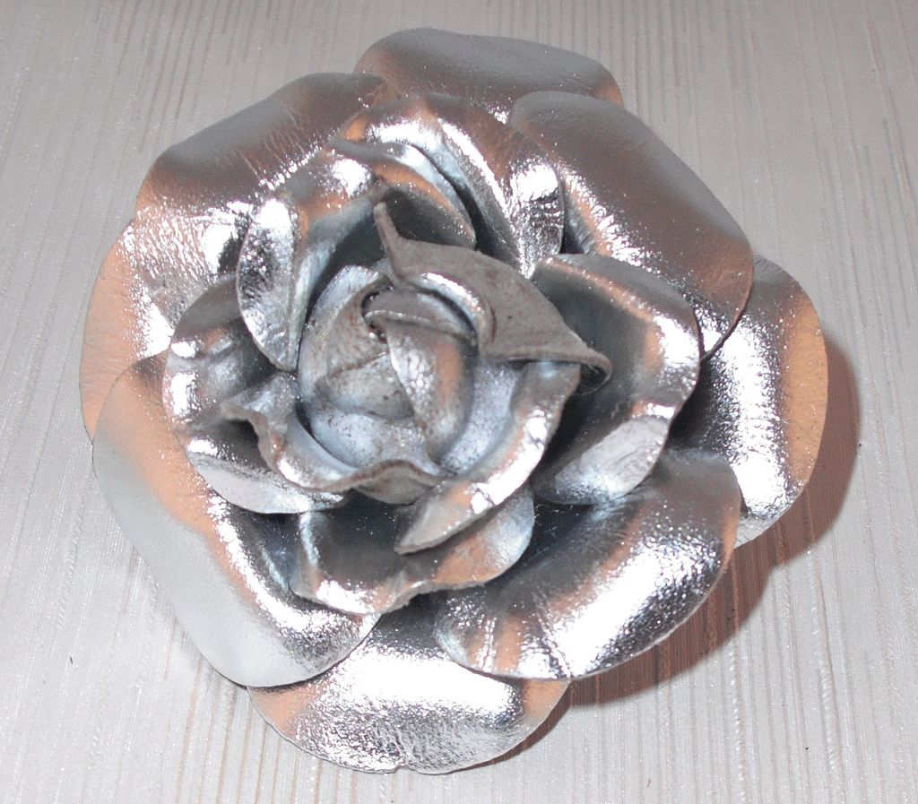 Silver Leather Rose Pin by MUSI